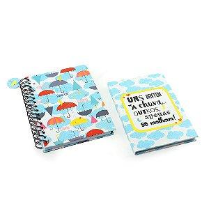 Kit Caderno de Anotações e Caderno Médio Capa Dura Chove Chuva
