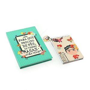 Kit Caderno Médio e Caderno de Notas Wire-O Frida