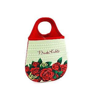 Lixeira de Carro Frida Kahlo Flores Vermelhas