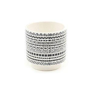 Cachepô em Cerâmica Redondo Asteca Branco Médio