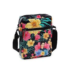 Bolsa Transversal Shoulder Bag Frida Kahlo Floral Preta