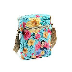 Bolsa Transversal Shoulder Bag Frida Kahlo Floral Azul