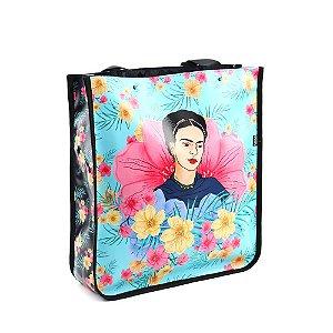 Bolsa Sacola Bag Frida Kahlo Floral Azul