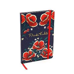 Caderno Médio com Elástico Frida Kahlo Flores Vermelhas Azul