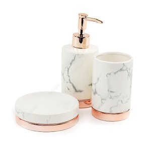Kit de Banheiro em Cerâmica Mármore Branco e Rose Gold