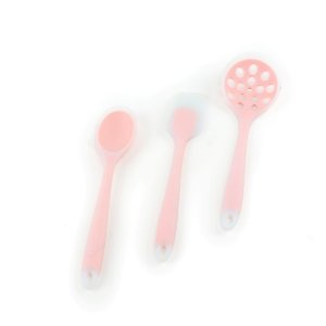 Kit de Utensílios de Silicone Circa 3 Peças com Escumadeira Rosa