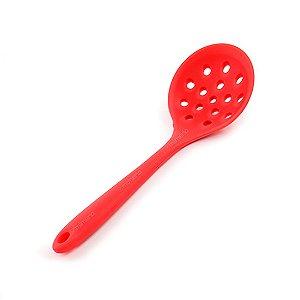 Escumadeira de Silicone Colore Vermelha 27,5 cm