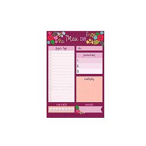 Bloco Planner de Mesa Diário Floral Rosa Escuro