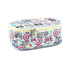 Estojo 100 Pens Box Jumbo Gatinhos Donuts