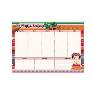 Bloco Planner de Mesa Semanal Frida Colores