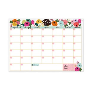 Bloco Planner de Mesa Mensal Porco Espinho Floral