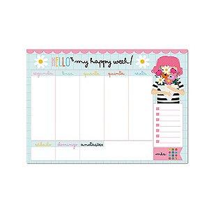 Bloco Planner de Mesa Semanal Happy Buquê