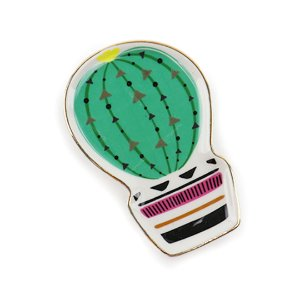 Mini Pratinho Decorativo Cacto Bola Verde Escuro