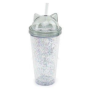 Copo Gato Glitter Transparente Cinza