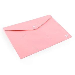 Pasta Envelope com Botão Horizontal A4 Rosa