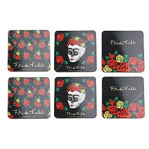 Conjunto 6 Porta Copos de Cortiça Flores Coloridas