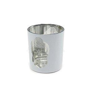 Castiçal Decorativo em Vidro e Metal Buda Prata e Branco