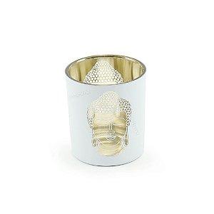 Castiçal Decorativo em Vidro e Metal Buda Dourado e Branco