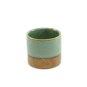 Cachepô em Cerâmica Metálico Verde e Cobre
