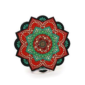 Descanso de Panela em Cerâmica para Mesa Mandala Flores Coloridas