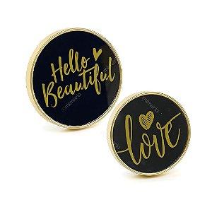 Jogo 2 Espelhos Hello Love Dourado