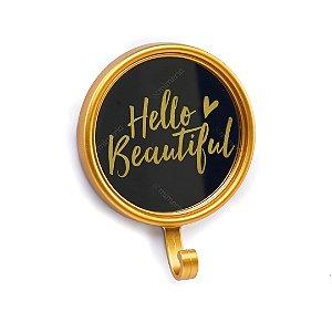 Espelho com Gancho Hello Beautiful Dourado