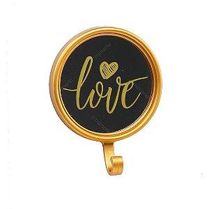 Espelho com Gancho Love Dourado