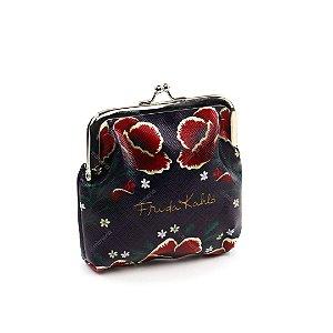 Porta Moedas Frida Kahlo Flores Vermelhas Fundo Azul