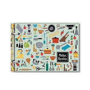 Caderno de Receitas Argolado Xadrez Verde