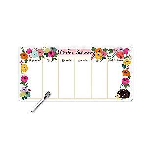 Planner Semanal Porco Espinho Floral Magnético com Caneta