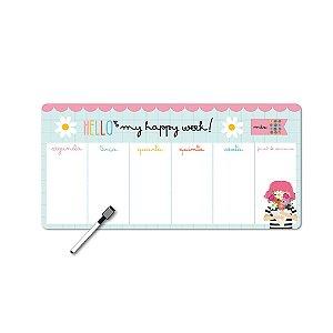 Planner Semanal Happy Buquê Magnético Horizontal com Caneta