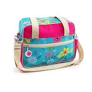 Bolsa de Viagem Pequena Floral Turquesa