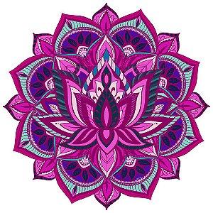 Tapete Mandala Flor de Lótus Rosa, Lilás e Turquesa