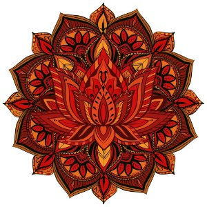 Tapete Mandala Flor de Lótus Laranja, Marrom e Amarelo