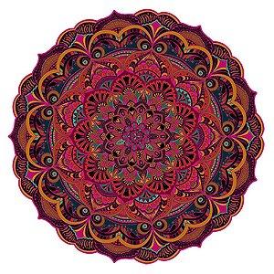 Tapete Mandala do Amor Laranja, Salmão e Rosa