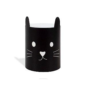 Porta-Lápis em Aço Gato Preto