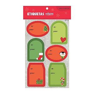 Cartela de Etiquetas Adesivas para Presentes Verdes e Vermelhas