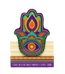 Escultura Hamsa Colorido Grande