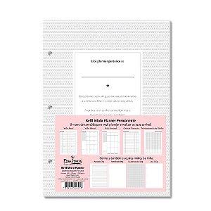 Refil para Caderno Argolado Fichário Miolo Planner Permanente