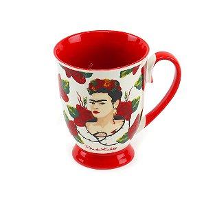 Caneca de Porcelana Rococó Frida Kahlo Face e Rosas Branca e Vermelha