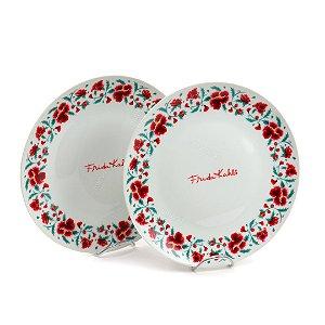 Jogo de Jantar 2 Pratos de Porcelana Frida Kahlo Flores Branco