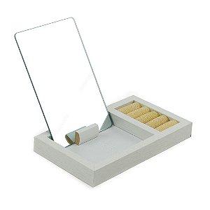 Porta-Joias de Mesa Madeira com Espelho Fantastic Box Branco