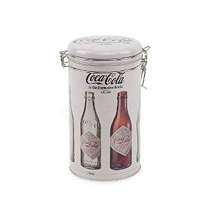 Lata de Metal Redonda Coca-Cola com Tampa Evolução das Garrafas Cinza