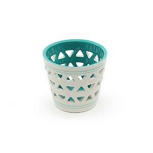 Castiçal em Porcelana Branco e Azul
