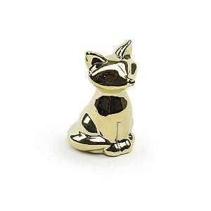 Raposa Decoratica em Cerâmica Dourada