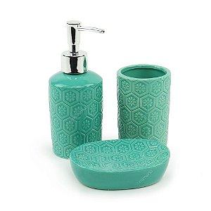 Kit de Banheiro em Cerâmica Losangos e Flores Verde