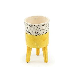 Vaso de Cerâmica com Pé Cores Brilhantes Amarelo Pequeno