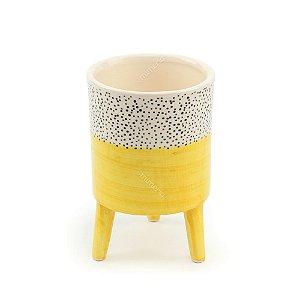 Vaso de Cerâmica com Pé Cores Brilhantes Amarelo Grande