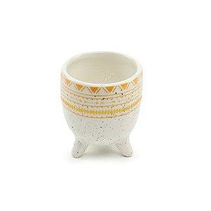 Cachepô de Cerâmica Étnico Branco