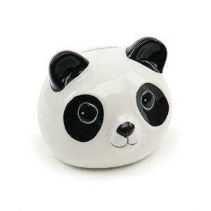 Cofre de Cerâmica Panda Branco e Preto